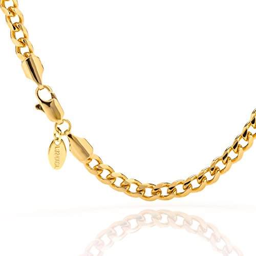 Lifetime Jewelry Cuban Link Bracelet 5MM, Round, 24K Gold Over Bronze, Premium Style, Guaranteed for Life, 7 - 9 Inches