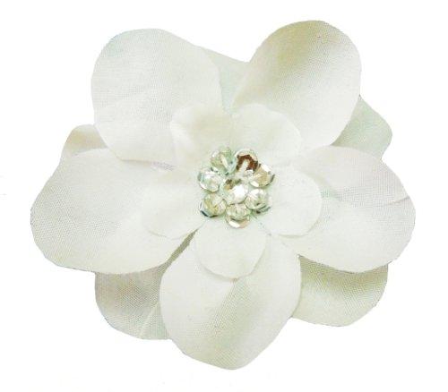 Cuteque International 6-Piece Embellished Flower Sequin Embellishment, White/Silver