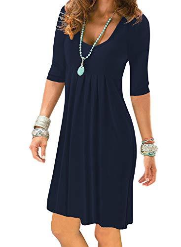 - Women's Navy Blue Half Sleeve Empire Waist Plain Pleated Loose Swing Casual Dresses Knee Length