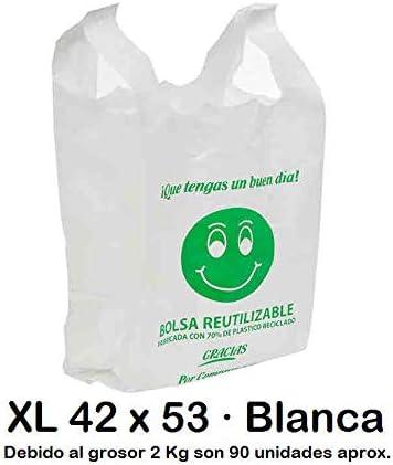Bolsas de Plástico Tipo Camiseta Resistentes, Reutilizables y Recicladas | Galga 200 | Tamaño XL 42x53 cm | 2 Kg - 90 uds Aprox. | 70% Recicladas | Cumple Normativa | Aptas Uso Alimentario | Blancas