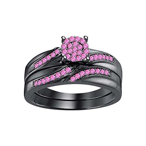 (RUDRAFASHION Round Cut Pink Sapphire 14k Black Gold Plated Flower Bridal Ring Set for Womens)