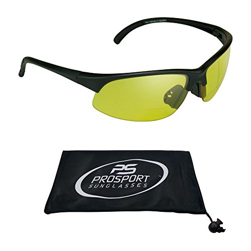 - proSPORT Bifocal Reader Sunglasses Half Rim Sport Style Yellow Night Driving Riding, HD Vision or Smoke lenses