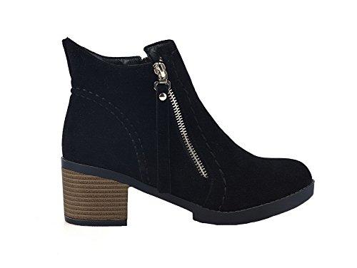 AgeeMi Shoes Damen Rein Mittler Absatz Reißverschluss Niedrig-Spitze Stiefel Schwarz