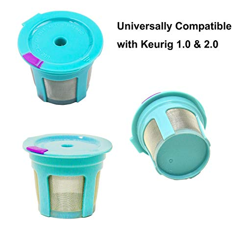 8 Reusable Keurig Single K Cup 2.0 - Solo Filter Pod Coffee Stainless Mesh (8 Rainbow Color)