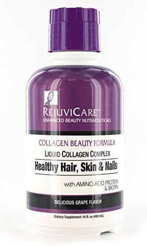 Rejuvicare Liquid Collagen Beauty Formula with Amino Acids, Protein and Biotin, Delicious Grape Flavor, 32 servings