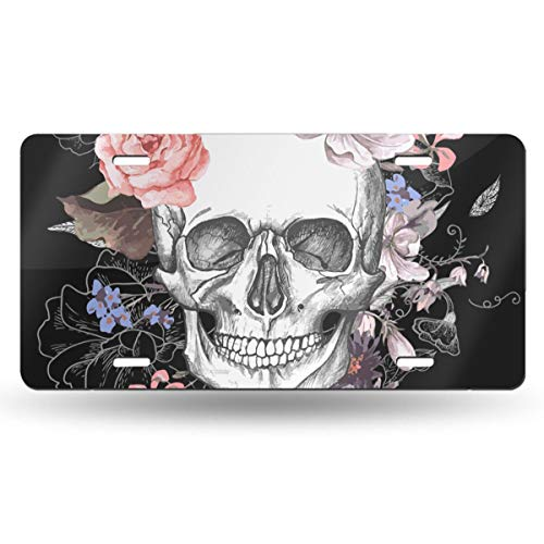 (Jeepmother Beautiful Floral Sugar Skull 612inchs Feel Metal Tin Sign Plaque for Home,Bathroom and Bar Wall Decor Car Vehicle License Plate Souvenir Car Decoration)