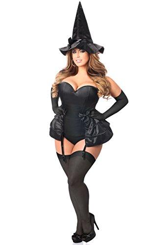 Daisy Corsets Women's Plus-Size Lavish 4 Piece Midnight Witch Corset Costume, Black, 2X (Black Sequin Witch Costume)