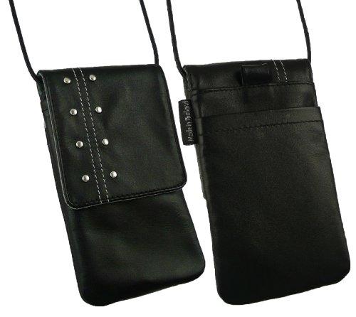 Emartbuy® Caisse De Cuir Véritable Krusell Kalix Clouté Noir Soft Case Etui Coque Housse Avec Rabat Adapté Pour Apple iPhone 3G 3Gs