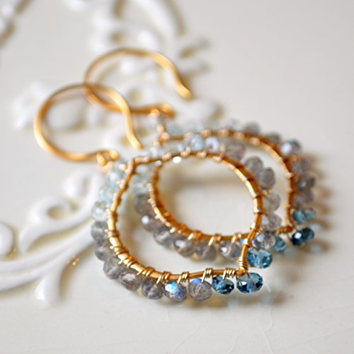 Labradorite Earrings with London Blue Topaz in (Blue Topaz Labradorite Earrings)