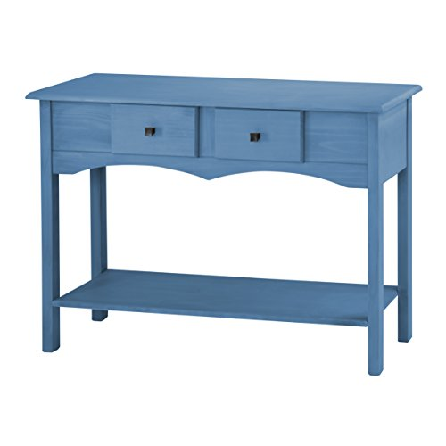Manhattan Comfort Jay Collection Modern Wooden Entryway Table with Two Drawers and One Shelf, Blue