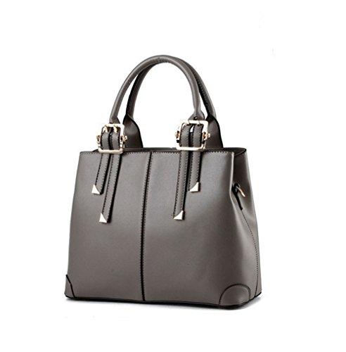 for Handbag Shoulder Bags Ladies Grey Women Handle Top Fashion QUBABOBO PU Leather Handbags Fpqf1gw