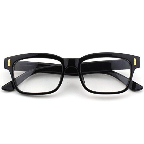 CGID CN84 Lunettes à verres transparents et monture épaisse audacieuse rectangulaire à monture décaille fashion casual Glossy Black
