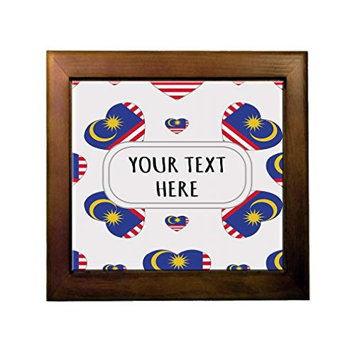 Ceramic Tile in Wood Frame Custom Malaysia Country Flag Hearts Pattern ()