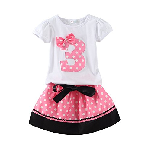 - Mud Kingdom Little Girls Birthday Outfits I Am 3 Years Clothes Skirt Sets Pink 3T