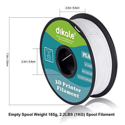 Dikale PLA 3D Printer Filament - 1KG(335m/1099ft) 1.75mm, Dimensional Accuracy +/- 0.02 mm, 1KG Spool 1.75 mm, White(Suitable for Ender 3 3D Printer etc)