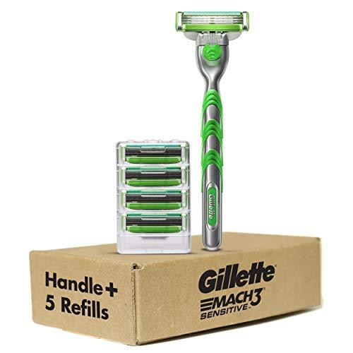 Gillette Mach3 Sensitive Men's Razor Handle + 5 Blade Refills