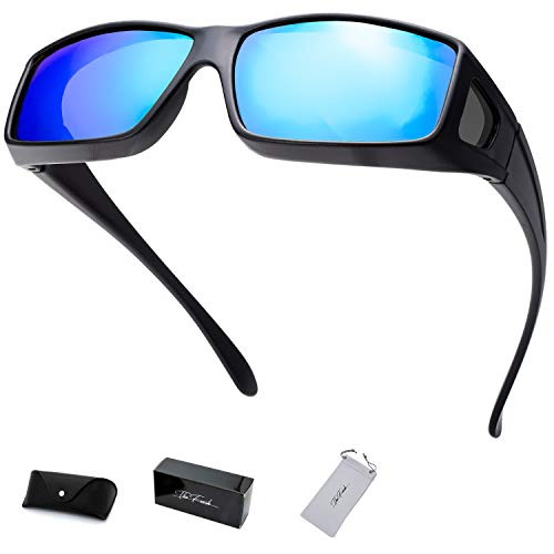 The Fresh High Definition Polarized Wrap Around Shield Sunglasses for Prescription Glasses - Gift Box Package (705-Matte Black, Sky Blue Mirror(Grey side lens))