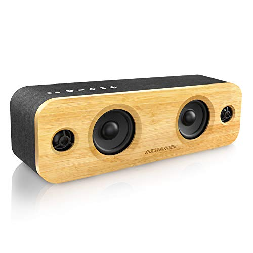 - AOMAIS Life Bluetooth Speakers, 30W Loud Wood Home/Outdoor Wireless Speaker,2 Woofer&2 Tweeters for Super Bass Stereo Sound,66 Ft Bluetooth V4.2 and 12H Playtime, 3 EQ Modes [Classic, Surround, Party]