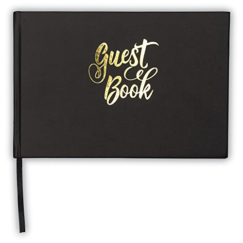 Black Guest Book with Gold Foil – Hardcover Guest Book with Lines for Name, Address and Notes - 9