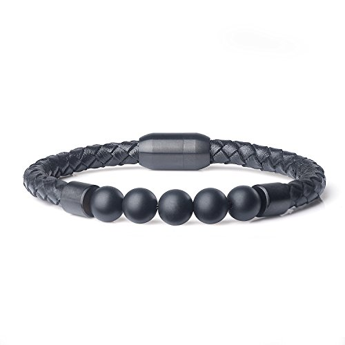 AmorWing Magnetic Clasp Leather with Genuine Onyx Stone Mala Beads ()