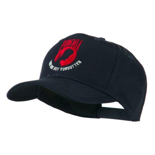 E4hats Pow Mia Symbol with Wording Embroidered Cap - Navy (Pow Mia Symbol)