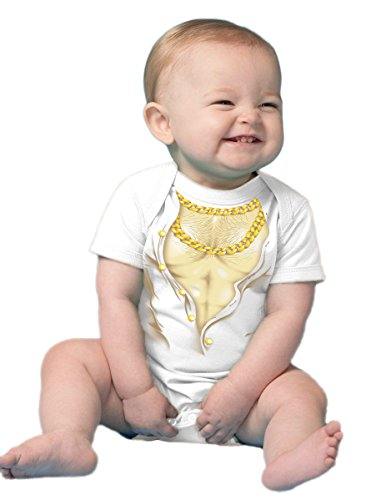 Baby Muscles | Funny Infant Chest Hair & Chains Printed Infant One Piece