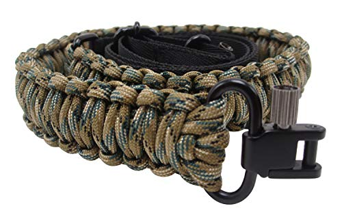 Waterfowl Gun Sling Paracord 550 Adjustable Length 2 Point Strap with Swivels On Both Ends for Rifle Shotgun and Crossbow Hunting Camping Tactical Survival (Woodland Camo) -