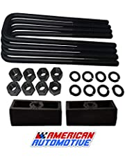 "2"" Rear Suspension Lift Solid Cast Iron Blocks + Extra Long 10"" Square Leaf Spring Axle U Bolts"