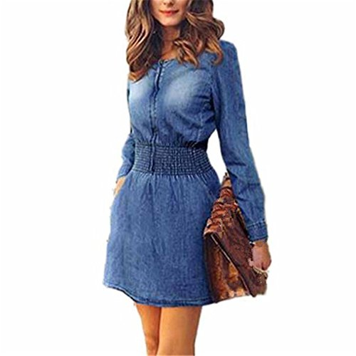 haoricu Women Dress, Fall Vintage Autumn Spring Women Long Sleeved Slim Casual Denim Jeans Mini Party Dress (L, ()