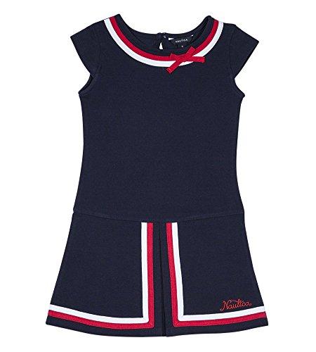 Nautica Girls' Little Short Sleeve Fashion Dress, Outline Navy, 5
