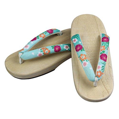 Traditional Wooden Women's Shoes light C sofei Sole Green Geta Sandals Clogs Floral wood Japanese Color Ez 5vqwtnX5