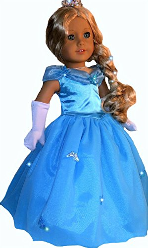 [Fits 18 inch American Girl Dolls | Stunning Butterfly Cinderella Ball Gown | Doll Dress Clothes Outfit (6 Piece] (Doll Outfits Halloween)