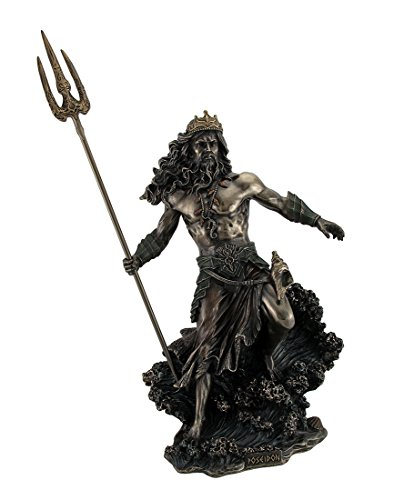 Bronze Statue Poseidon - Resin Statues Poseidon Greek God Of The Sea Commanding Waves Statue 20 Inch 15 X 20.5 X 7.5 Inches Bronze
