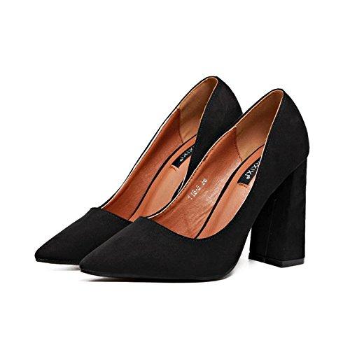 Printemps Bas Talon chunky suède LvYuan sandales BLACK Femmes pointu 35 Confort pointe Casual Été Talons mxx vqwznw8Ht