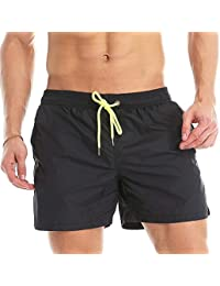 Lncropo Men's Solid Swimming Trunks Quick Dry Beach Bathing Swim Shorst with Mesh Lining(Black,XXL)
