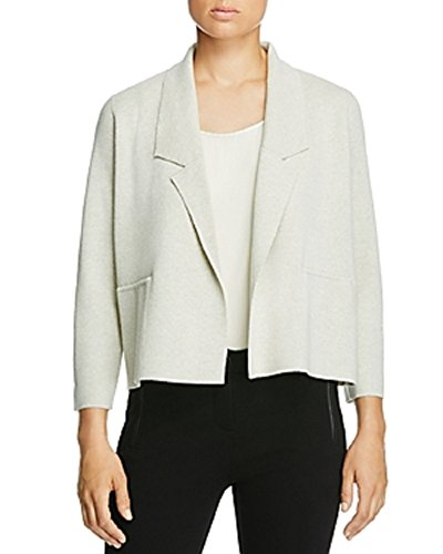 Knit Collar Jacket (EILEEN FISHER Notch Collar Wool Knit Jacket (WHITE, XL))