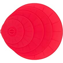 Red Silicone Suction Lids Set - 5 Reusable Flat Covers For Food, Bowls, Pans, Cups, Pots, Microwave – Includes large almost 14"