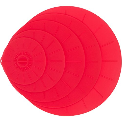"""Red Silicone Suction Lids Set – 5 Reusable Flat Covers For Food, Bowls, Pans, Cups, Pots, Microwave – Includes large almost 14"""" 