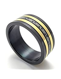 TEMEGO Jewelry Mens Stainless Steel Ring, 2-Tone Vintage Great Wall Band, Black Golden