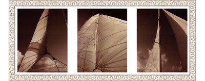 Acrylic White Windward (Framed Windward Sails Triptych- 38x15 Inches - Art Print (White Wash Frame))