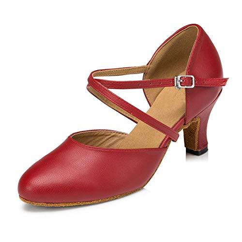 Zapatos 5 Mujer Heel Qiusa Heel color Red 5cm De Baile Tamaño Uk Black 4 6cm 4qgaCf