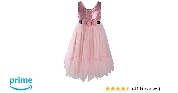 4f8a3ff7a Amazon.com  Flofallzique Flower Sequined Girls Dress Black Easter ...