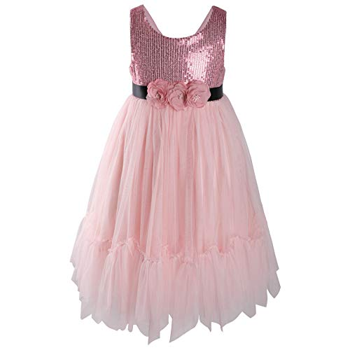 Flofallzique Flower Sequined Girls Dress Easter Wedding Party Princess Dress for Toddlers (3, Pink)