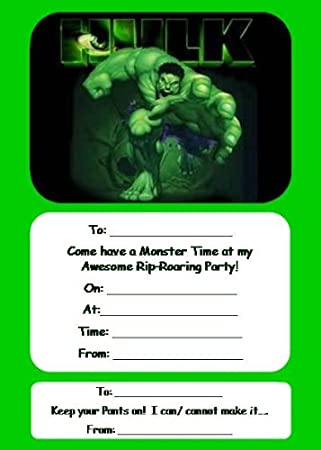 20 X Incredible Hulk Party Invitations Invites Envelopes Amazoncouk Office Products