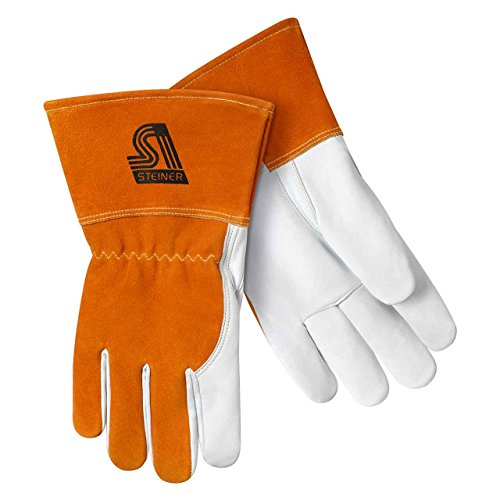Steiner 0232-L Premium Heavyweight Grain Goatskin with Split Cowhide Back MIG Welding Gloves with Reinforced Thumb Saddle, Straight Thumb, Kevlar Sewn, Large, Tan/Rust ()