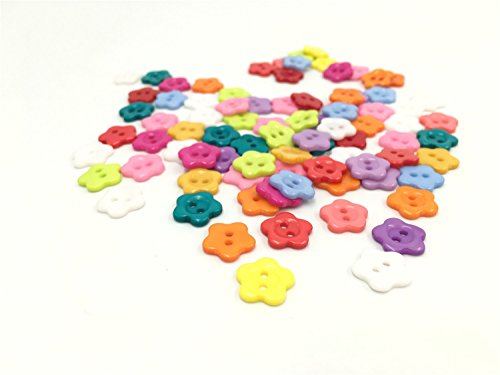 Flower Button - Yansanido 100 Pcs 13mm Assorted Color Tiny Mini Flower Shaped Button Micro Flat Candy Color Button 2 Holes for Sewing Scrapbooking and DIY Craft (2 Holes flower01 13mm)