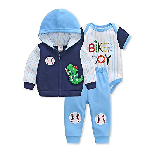 - Y Nidus Baby Boy Clothes Organic Clothing 3 Pcs Hooded Cardigan Pant Romper Set Blue
