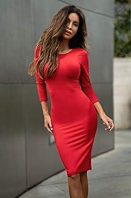 ICONOFLASH Women's 3/4 Sleeves Bodycon Midi Dress - XS To 3XL