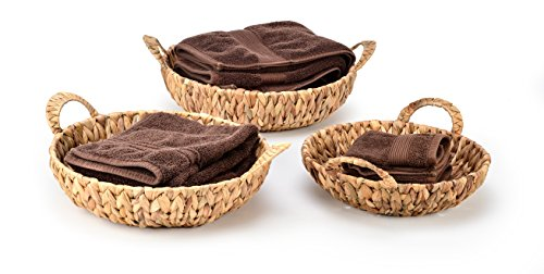 (Trademark Innovations Set of 3 Round Hyacinth Baskets with Handles)