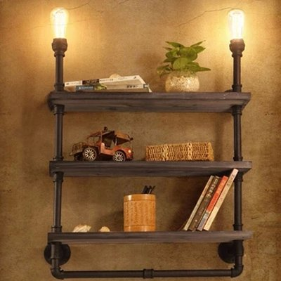 "Industrial Vintage Wall Sconce-LITFAD 2 lights 26"" Edison Wall Light Practical Three Layers Bookshelf Pipe Wall Lamp Mounted Lighting Fixture"